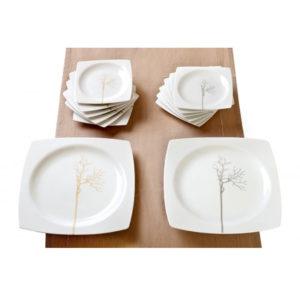 Σερβίτσιο πιάτων τετράγωνο γκρι